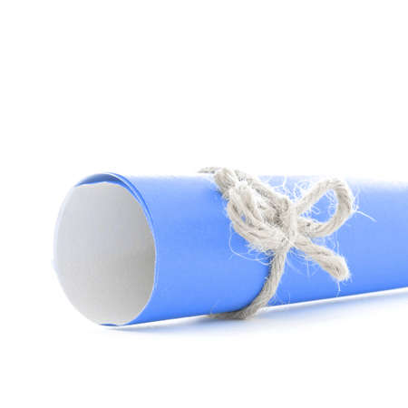 missive: Handmade natural cord knot tied on blue message scroll, isolated Stock Photo