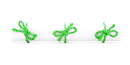 missive: White paper scroll tied with cord, three green knots, isolated