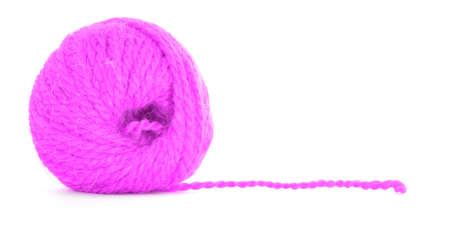 interweave: Clew of yarn, magenta twine, isolated on white background