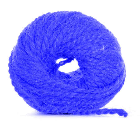 skein: Clew of yarn, tangled skein, isolated on white background Stock Photo
