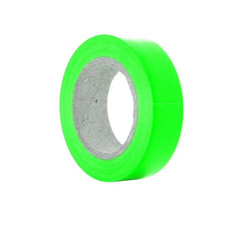 Protective sticky green insulation tape reel, isolated on white background Stock Photo