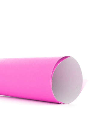 missive: Pink paper letter roll scroll edge, isolated on white background