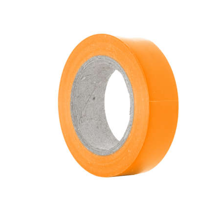 sellotape: Repairing sticky orange insulation tape reel, isolated on white background Stock Photo