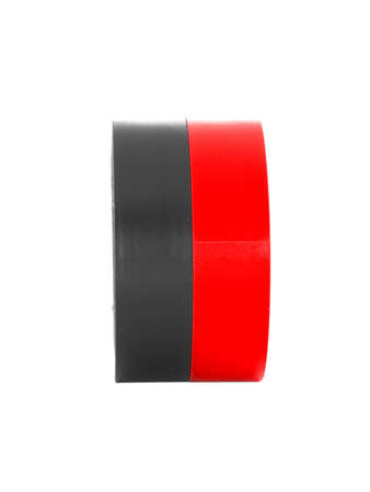 coils: Repairing black, red insulating tape coils, isolated on white background Stock Photo
