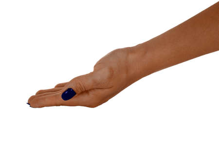 bestowing: Open hand giving anything, adult womans skin, blue manicure. Isolated on white background. Stock Photo