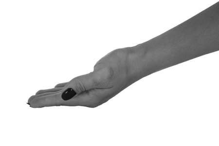 Open hand holding something, natural womans skin, black manicure. Isolated on white background.