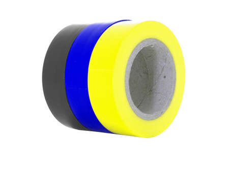 sellotape: Black, blue, yellow insulating tape rolls, isolated on white background