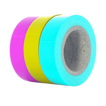 sellotape: Magenta, yellow, cyan insulating tape reels isolated on white background.