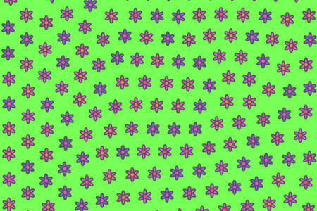 Flat lawn based on blooming asteraceae. Banner design. Stock Photo