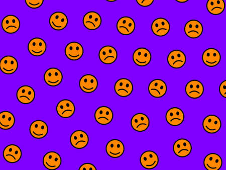 Messenger illustration. Chaotic pattern. Message including many smileys.
