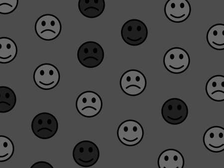 People backdrop. Flat texture. Association based on amusing smileys.
