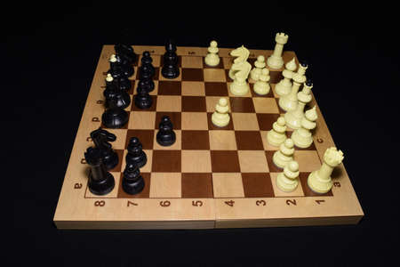 Chessboard and white pawns as a game theme Banco de Imagens