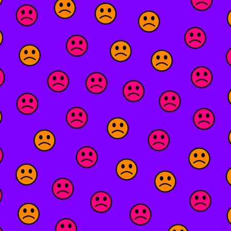 Sad emotion icon on purple background