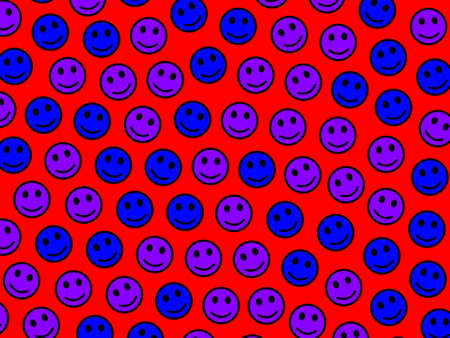 Blue and purple emotion icon on red background
