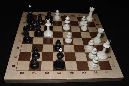 Chess board with white chessmen as a skill theme Фото со стока