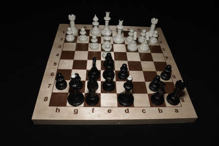 Chess board and white pawns like a skill background Stock Photo