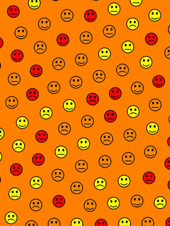 Chat illustration. Geometric texture. Crowd containing comic emotions.