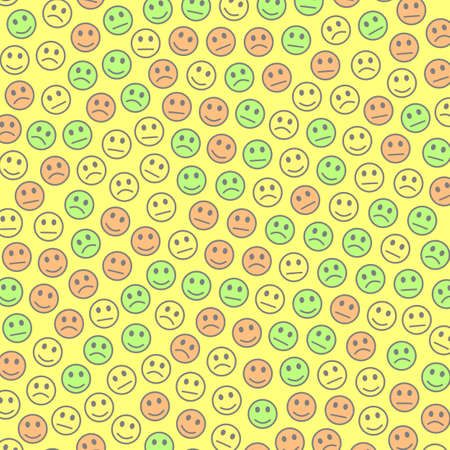 Network illustration. Party pattern. Folk including random smileys.