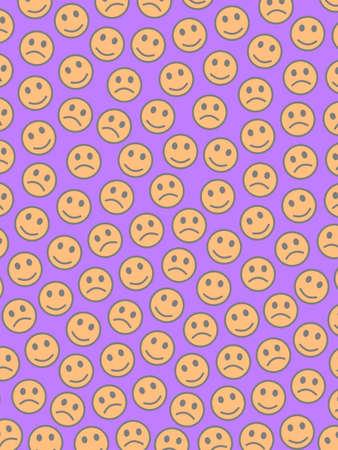 Interplay design. Chaotic texture. Institution based on amusing smileys.