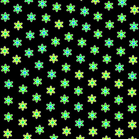 Spring pattern including many asteraceae. Feeling illustration.