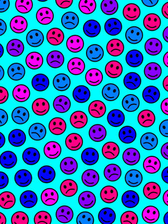Entertainment decoration. Party texture. Community composed of many smileys. Imagens