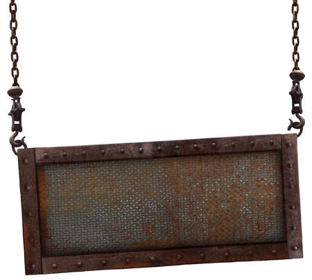 old sign: Old rusted iron sign hanging on a white background.