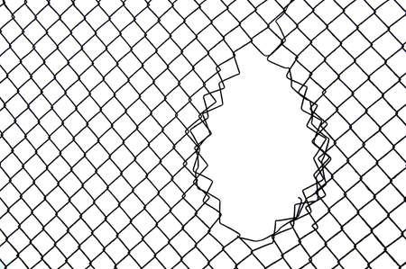 Fence, railing vulnerable black and white background. Stock Photo