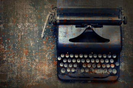 secretarial: Old vintage typewriter on the floor