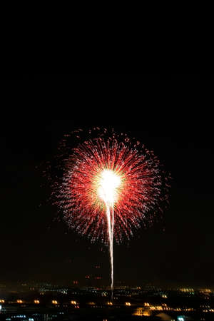 Fireworks light up the night sky beautifully. Stock Photo