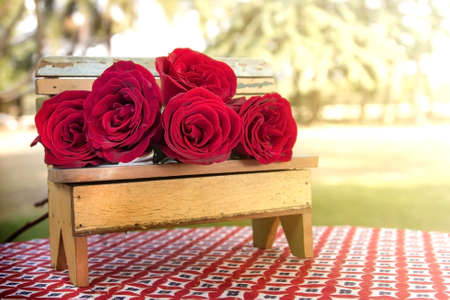 Red roses on the table outdoor front lawn.