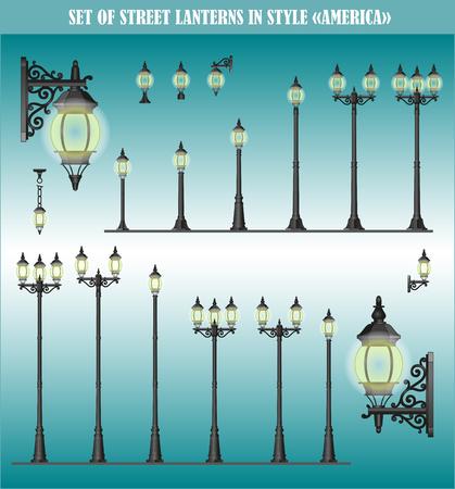 Set of isolated Street lanterns in style America Illustration