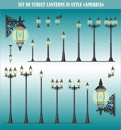 landscape architecture: Set of isolated Street lanterns in style America Illustration