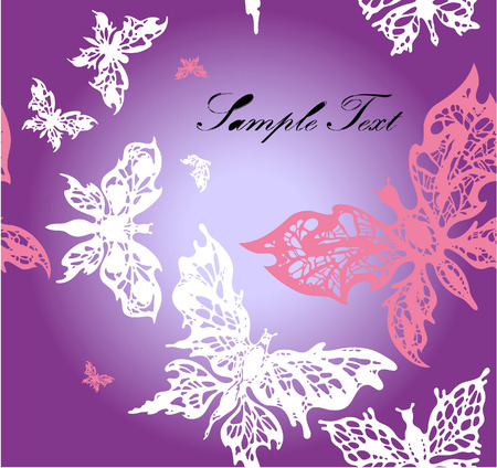 varicolored: Seamless background with pink and white butterflies on violet  gradient with text
