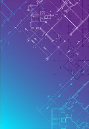 vertical format: blue architectural background with plans of buildings in vertical format