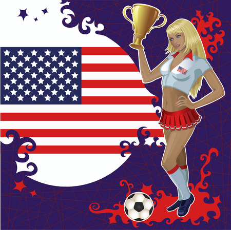sports flag: football poster with American flag,soccer ball and beautiful cheerleader girl which holds a winner gold bowl. Illustration