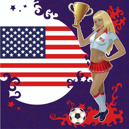 american poster: p�ster de f�tbol con la bandera de Estados Unidos, el bal�n de f�tbol y la chica hermosa animadora que sostiene un cuenco de ganador de oro.