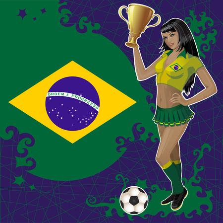 football poster with Brazilian flag,soccer ball and beautiful cheerleader girl which holds a winner gold bowl. Vector