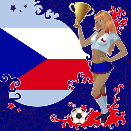 czech flag: poster di calcio con bandiera ceco, pallone da calcio e cheerleader bella ragazza che detiene una ciotola vincitore oro. Vettoriali