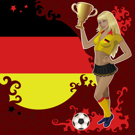 football poster with German flag,soccer ball and beautiful cheerleader girl which holds a winner gold bowl. Vector