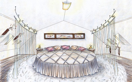 Hand drawn sketch of a bedroom in modern style with round bed, carpet and curtains photo