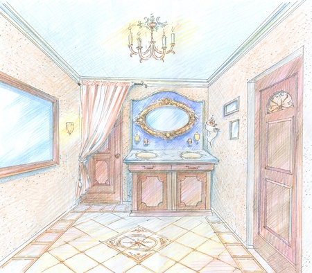 Hand drawn sketch of a classic style washroom with mirror,curtain and washstand photo