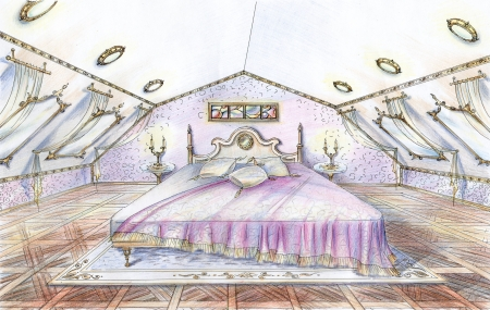 Hand drawn sketch of classic style bedroom with bed,parquet floor,carpet, mirrors and curtains