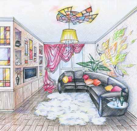 living room design: Hand drawn sketch of interior of living room with black sofa, shelfs, curtain and lamp