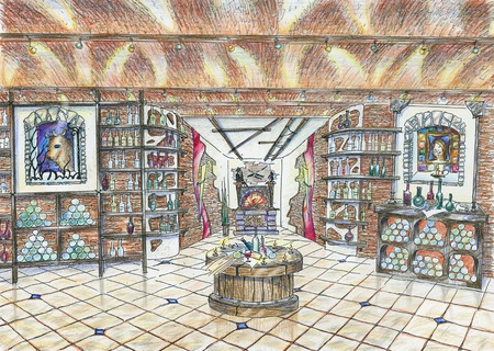 Hand drawn sketch of interior of wine shop in ancient style with shelfs for wine, pictures and a fireplace photo