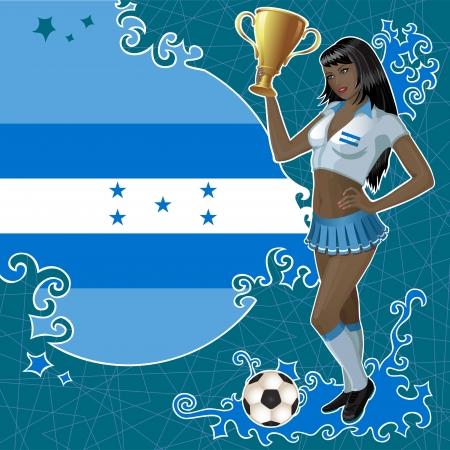 bandera de honduras: p�ster de f�tbol con bandera hondure�a, el bal�n de f�tbol y la chica hermosa animadora que sostiene un cuenco de ganador de oro.