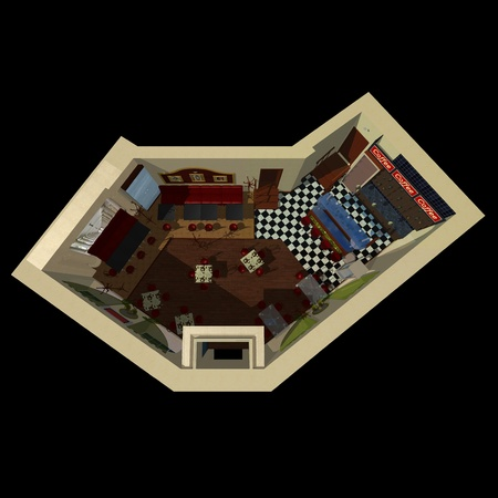 3D view on the layout of coffee house with design of decoration and furniture. photo