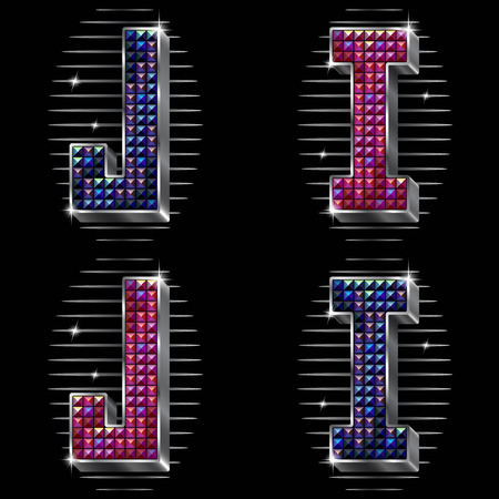 spangles: Vector volume letters I,J with shiny rhinestones in metal silver framing in two versions of colours