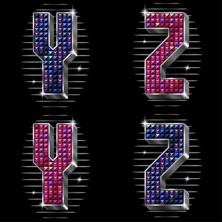 strass: Vector Volume Buchstaben Y, Z mit funkelnden Stra�steinen in Metall Silber Framing in zwei Versionen von Farben Illustration