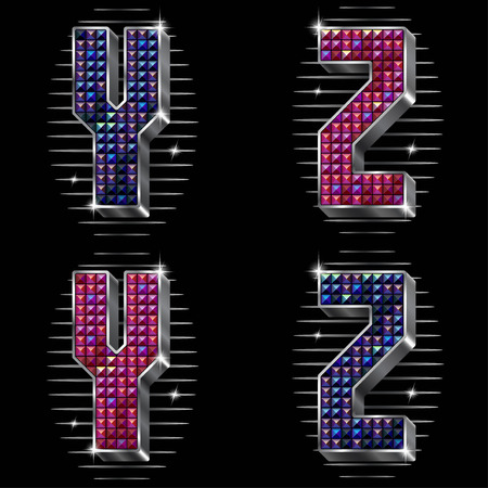 rhinestones: Vector volume letters Y,Z with shiny rhinestones in metal silver framing in two versions of colours Illustration