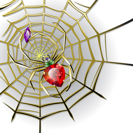 Background with jewelry spider with multicolored gems on the gold web Vector